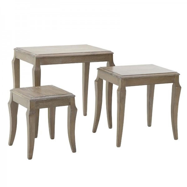 Inart S/3 Τραπέζι σαλονιού ξύλινο καφέ 57.5x37.5x54εκ Κωδικός: 3-50-835-0061