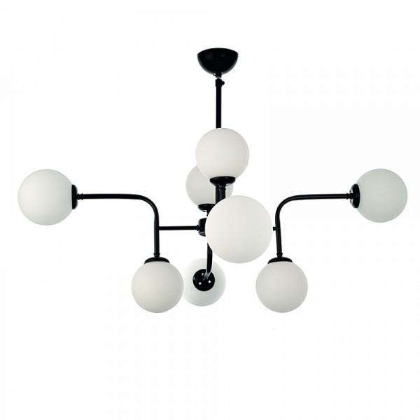 Inlight Κρεμαστό φωτιστικό από μαύρο μέταλλο και λευκή οπαλίνα 6166-8