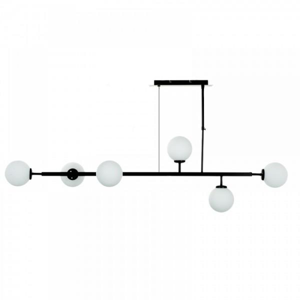 Inlight Κρεμαστό φωτιστικό από μαύρο μέταλλο και λευκή οπαλίνα 6170