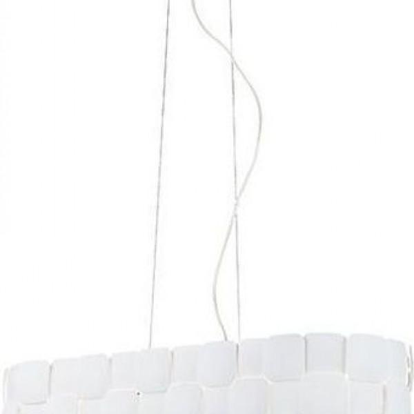 Lexi Κρεμαστό Τετράφωτο Πλαστικό PVC Ράγα Ανάγλυφο Φ80cm Υ130cm Λευκό 4129100 viokef