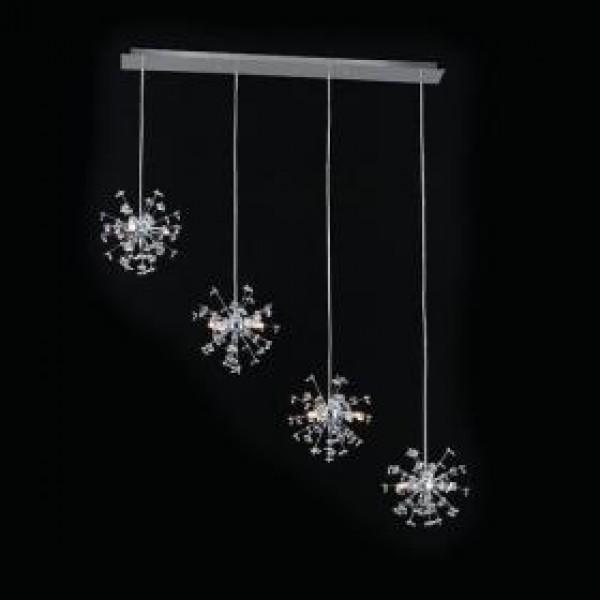 Ράγα τραπεζαρίας 12φωτη Κρύσταλλο/Χρώμιο Υ123x107x24 cm