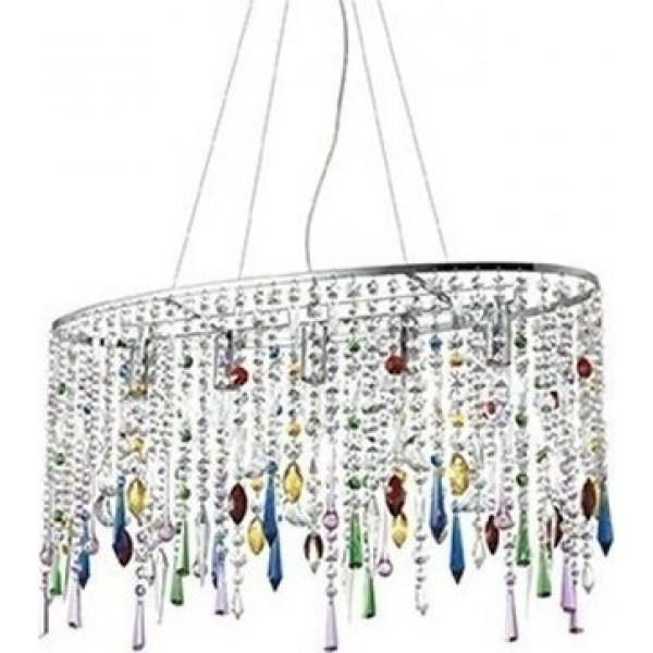 Ideal Rain Color Μοντέρνο Πολύφωτο Χρωμίου Με Πολύχρωμους Κρύσταλλους 5Φ  105277