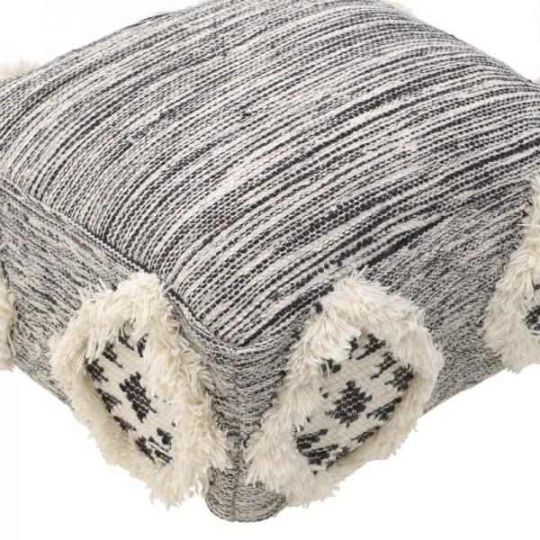 INART Μάλλινο Πούφ 55X55X25 εκ White-Ivory, Grey ΚΩΔΙΚΟΣ: 3-50-485-0005