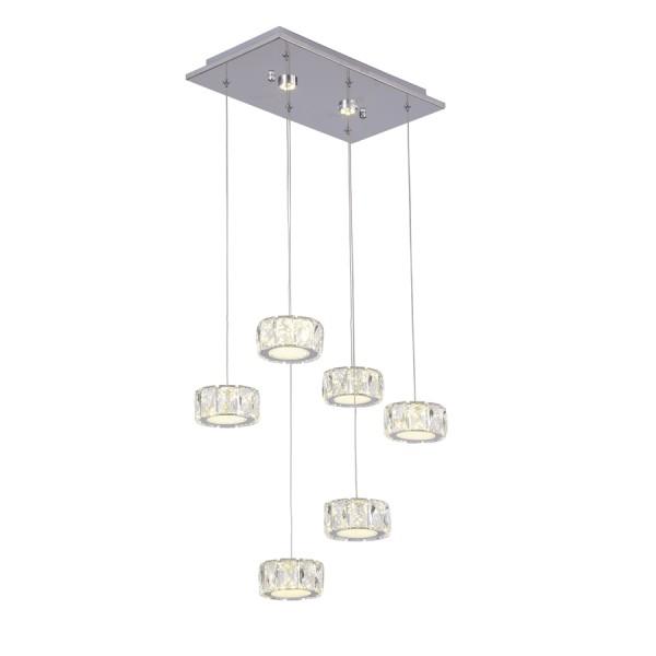 Κρεμαστό φωτιστικό LED, με βάση απο χρώμιο και κρύσταλλα LW2216-6+2