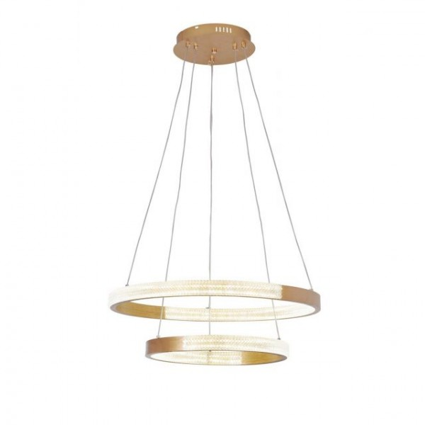 Κρεμαστό  πολύφωτο κατασκευασμένο από αλουμίνιο και μέταλλο σε χρυσό ματ χρώμα και ακρυλικό D88070/2