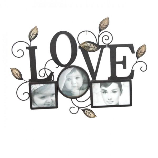 METAΛΛΙΚΟ ΤΟΙΧΟΥ ΜΕ 3 ΦΩΤΟΓΡΑΦΙΕΣ - LOVE 49.5x37.5cm 8/ΚΙΒ