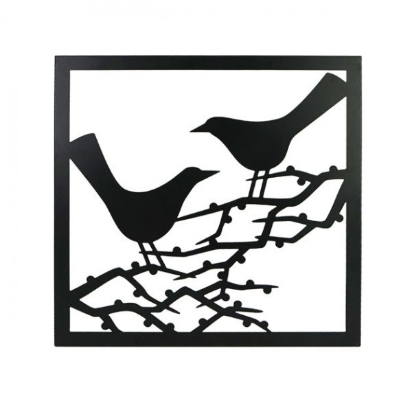 MARHOME ΜΕΤΑΛΛΙΚΟ ΔΙΑΚΟΣΜΗΤΙΚΟ ΤΟΙΧΟΥ - ΠΟΥΛΙΑ ΣΕ ΚΛΑΔΙΑ - ΜΑΥΡΟ 48x48x1cm 1/6ΚΙΒ