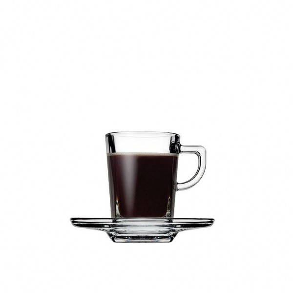 Espiel CARRE CUP AND SAUCER ESPRESSO TEMPERED 75CC P1728