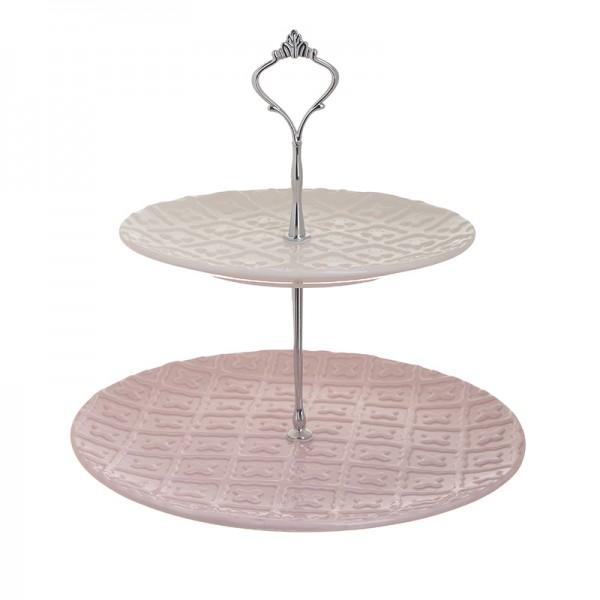 INART 2όροφη Ορντερβιέρα 27X27X26 εκ White-Ivory, Pink-Purple ΚΩΔΙΚΟΣ: 1-60-241-0003
