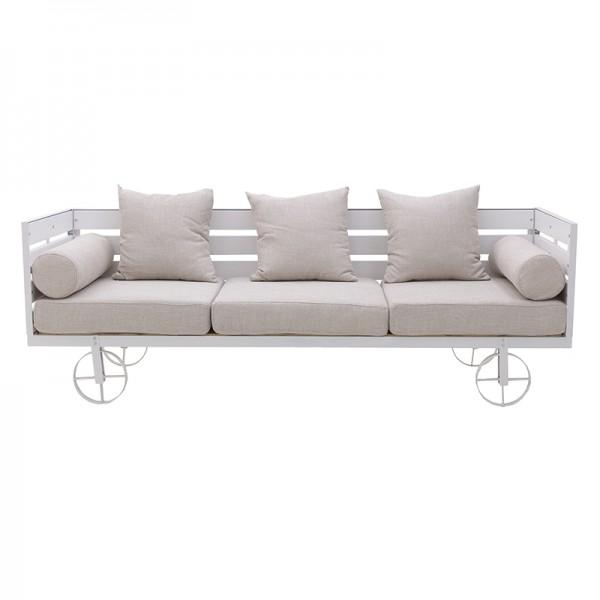 INART Καναπές 3θέσιος 192X70X65 εκ White-Ivory ΚΩΔΙΚΟΣ: 3-50-009-0007