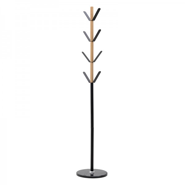 INART Μεταλλικός/Ξύλινος Καλόγερος 35X35X180 εκ Black, Natural-Beige ΚΩΔΙΚΟΣ: 3-50-227-0008