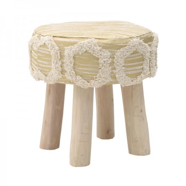 INART Βαμβακερό/Ξύλινο Σκαμπώ 40X40X40 εκ White-Ivory, Golden ΚΩΔΙΚΟΣ: 3-50-419-0018