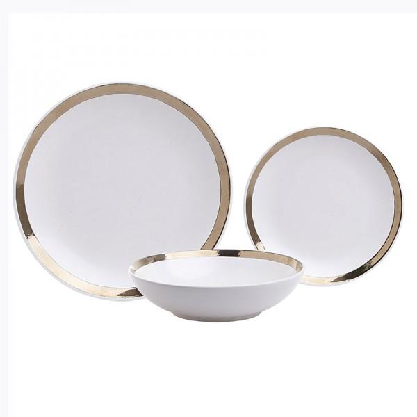 INART Σετ Φαγητού 18 Τεμαχίων 27Χ27Χ3 εκ Golden, White-Ivory ΚΩΔΙΚΟΣ: 3-60-332-0002