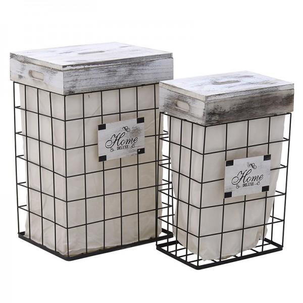 INART Καλάθι Απλύτων Σετ Των 2 42X31X62 εκ White & Black ΚΩΔΙΚΟΣ: 3-65-094-0001