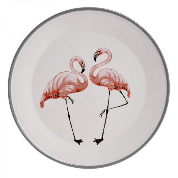 INART Πιατέλα Διακοσμητική Φλαμίνγκο 28X28X3 εκ White-Ivory, Pink-Purple ΚΩΔΙΚΟΣ: 3-70-093-0025