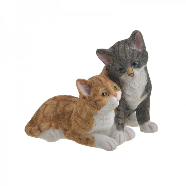 INART Διακοσμητικές Γάτες 14X12X13 εκ Grey, Yellow-Orange, White-Ivory ΚΩΔΙΚΟΣ: 3-70-146-0420
