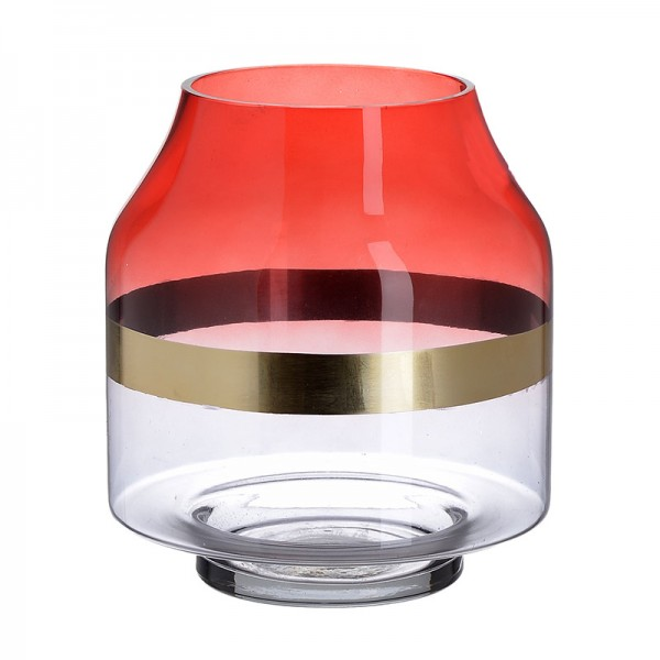 INART Γυάλινο Βάζο 18X18X20 εκ Golden, Red ΚΩΔΙΚΟΣ: 3-70-179-0002