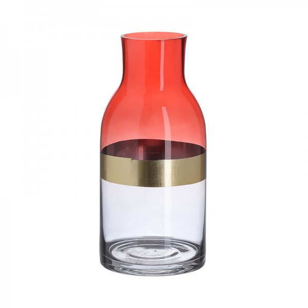 INART Γυάλινο Βάζο 12X12X26 εκ Golden, Red ΚΩΔΙΚΟΣ: 3-70-179-0004