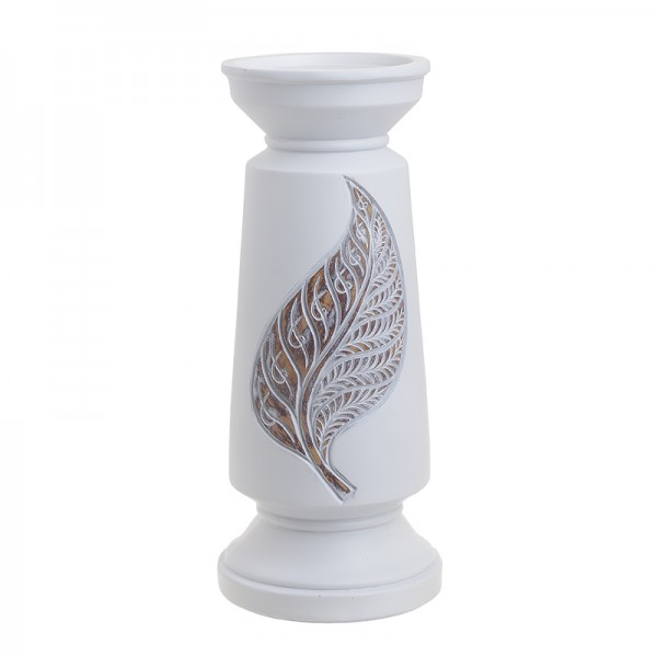 INART Polyresin Κηροπήγιο 14X14X32.5 εκ Natural-Beige, White-Ivory ΚΩΔΙΚΟΣ: 3-70-194-0014