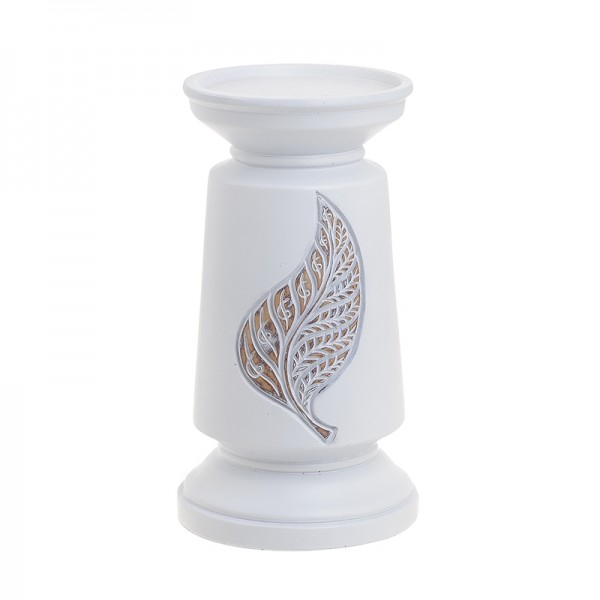 INART Polyresin Κηροπήγιο 13X13X23.5 εκ Natural-Beige, White-Ivory ΚΩΔΙΚΟΣ: 3-70-194-0015